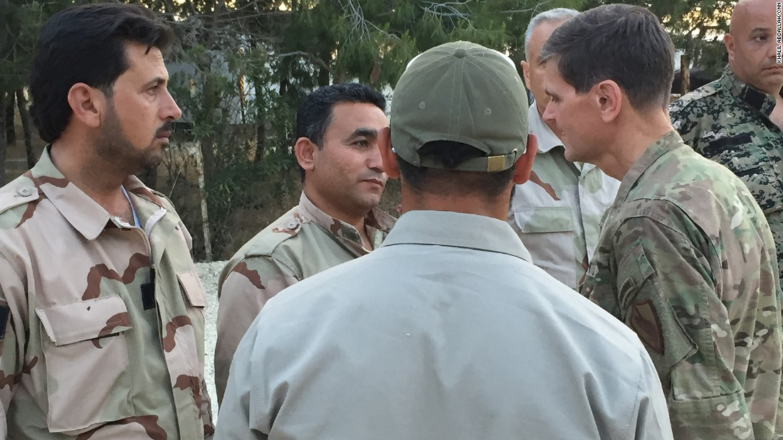 In northern Syria, Votel meets rebels from the Syrian Democratic Forces.