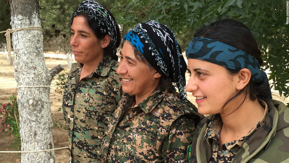 Female fighters from the Syrian Democratic Forces.