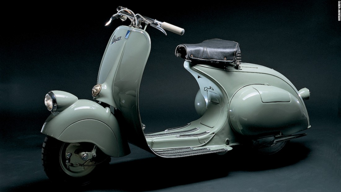The Vespa 98cc, the company's original model, debuted in 1946 with a wardrobe-friendly splash guard.