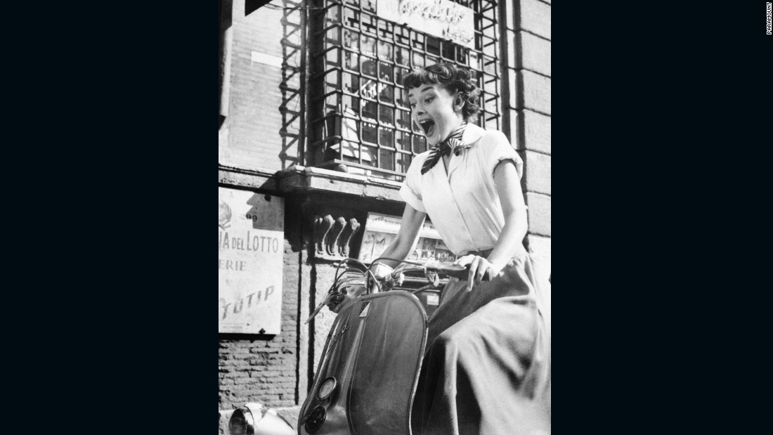 "In 1953 Audrey Hepburn appeared astride a Vespa in ""Roman Holiday"", sending sales through the roof."