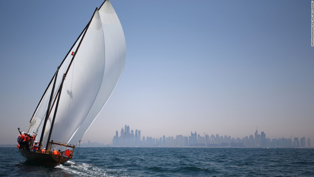 The Al-Gaffal dhow race takes place off the coast of Dubai every year and honors the pearl divers who helped establish the Emirate state as a trading port.