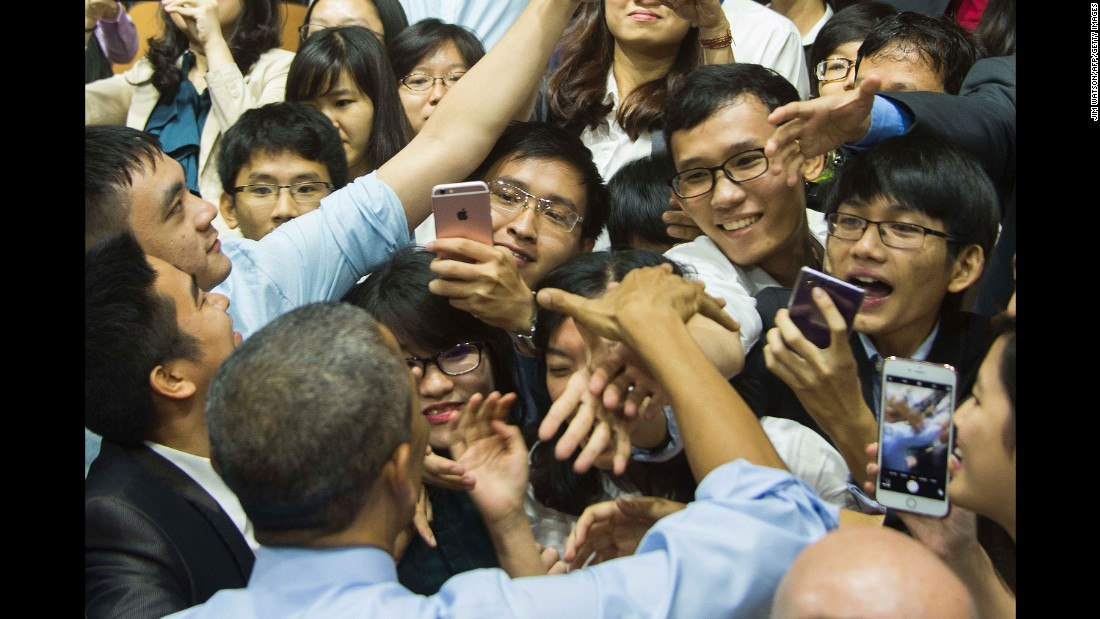 Obama shakes hands after speaking at a town-hall event in Ho Chi Minh City, Vietnam, on May 25.