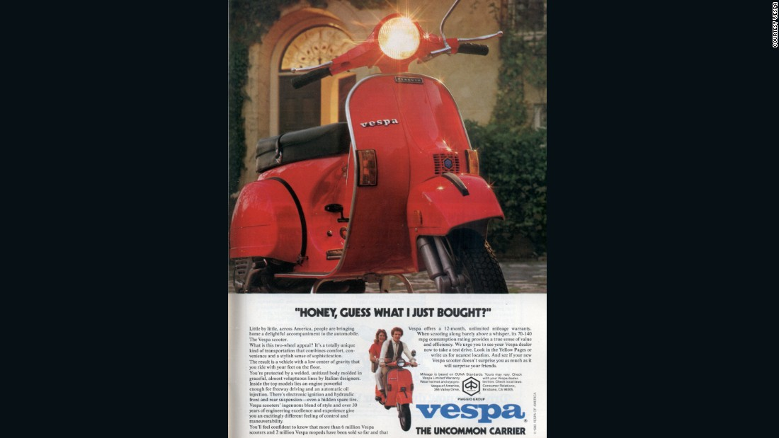 This 1980 advertisement aimed at the North American market pitched the Vespa as an accompaniment to the automobile rather than a replacement.