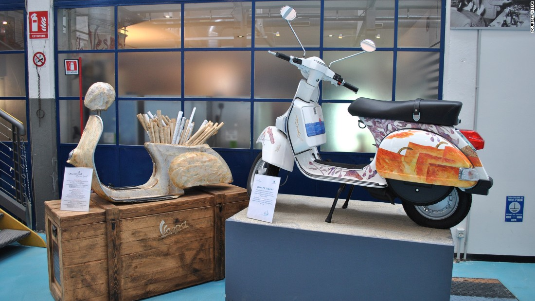 On display at the Piaggio Museum are a number of artist's renditions of the classic scooter which has become a global phenomenon.
