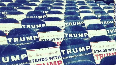 Johnny Tergo took this photo of signs set up for supporters at a rally for Donald Trump on May 25 in Anaheim, California.