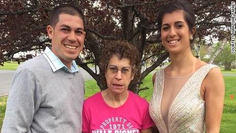 Matt Manzone with his mother, Debbie Franczek, and sister, Chelsea Franczek.