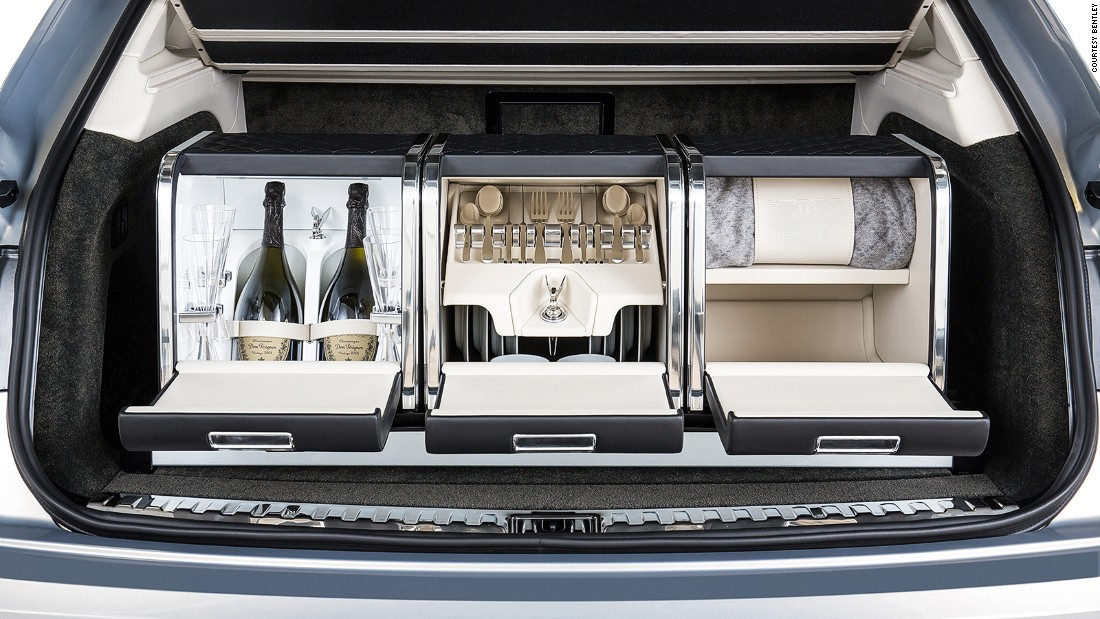 Luxury carmakers have discovered an unfilled consumer need for ultra-high-end luggage. Bentley's customized hamper for its Bentayga SUV retails for around $40,000.