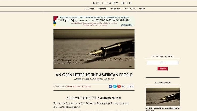 Writers unite against Donald Trump