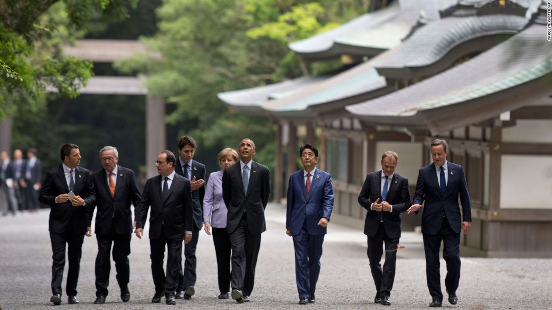 "From left: Italian Prime Minister Matteo Renzi, European Commission President Jean-Claude Juncker, French President François Hollande, Canadian Prime Minister Justin Trudeau, German Chancellor Angela Merkel, U.S. President Barack Obama, Japanese Prime Minister Shinzo Abe, European Council President Donald Tusk and British Prime Minister David Cameron walk past the Kagura-den as they visit Ise Jingu shrine in Ise, Japan, on Thursday, May 26. Obama is visiting Japan and Vietnam <a href=""http://www.cnn.com/2016/05/23/politics/obama-hiroshima-vietnam-trip-wartime-legacy/index.html"" target=""_blank"">during his 10th trip to Asia.</a>"