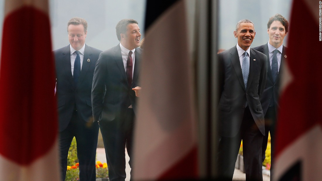 From left: British Prime Minister David Cameron, Italian Prime Minister Matteo Renzi, U.S. President Barack Obama and Canadian Prime Minister Justin Trudeau talk together after a group photo session at the G7 summit in Shima, Japan, on May 26.