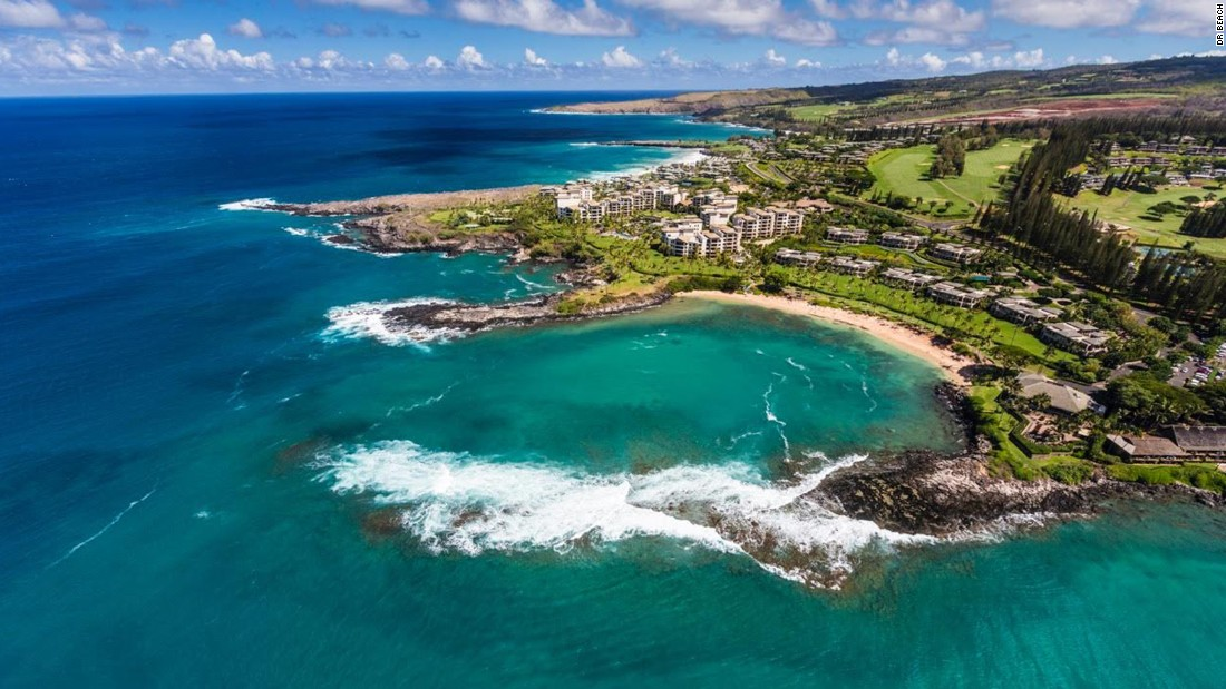 The snorkeling area at Kapalua Bay Beach on Maui, Hawaii, is protected by two headlands formed by lava flows into the sea.