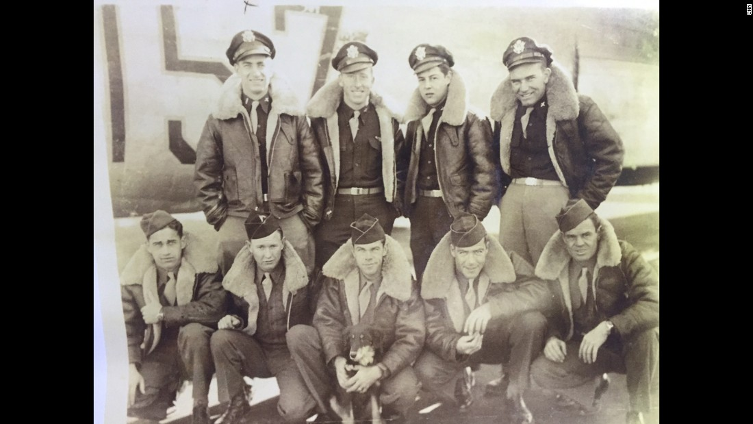 "Crew members of ""The Lonesome Lady,"" an American B-24 bomber. Five airmen crashed and became POWs in Hiroshima, later dying in the atomic bomb attack."