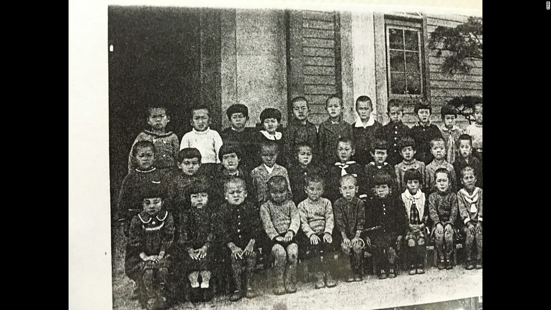 Mori pictured at primary school, top row left. This is his only childhood photo that survived the A-bomb blast.