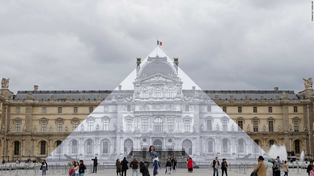 Previously, JR created this large-scale installation at Paris' Louvre Museum in May.