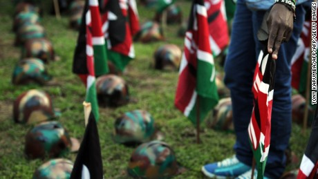 Mourners attend a vigil in Nairobi in honor of Kenyan soldiers killed at El Adde base in Somalia.