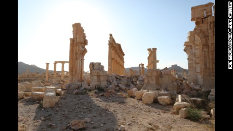 McCullin's photo of the triumphal arch at Palmyra, Syria, blown up by ISIS.
