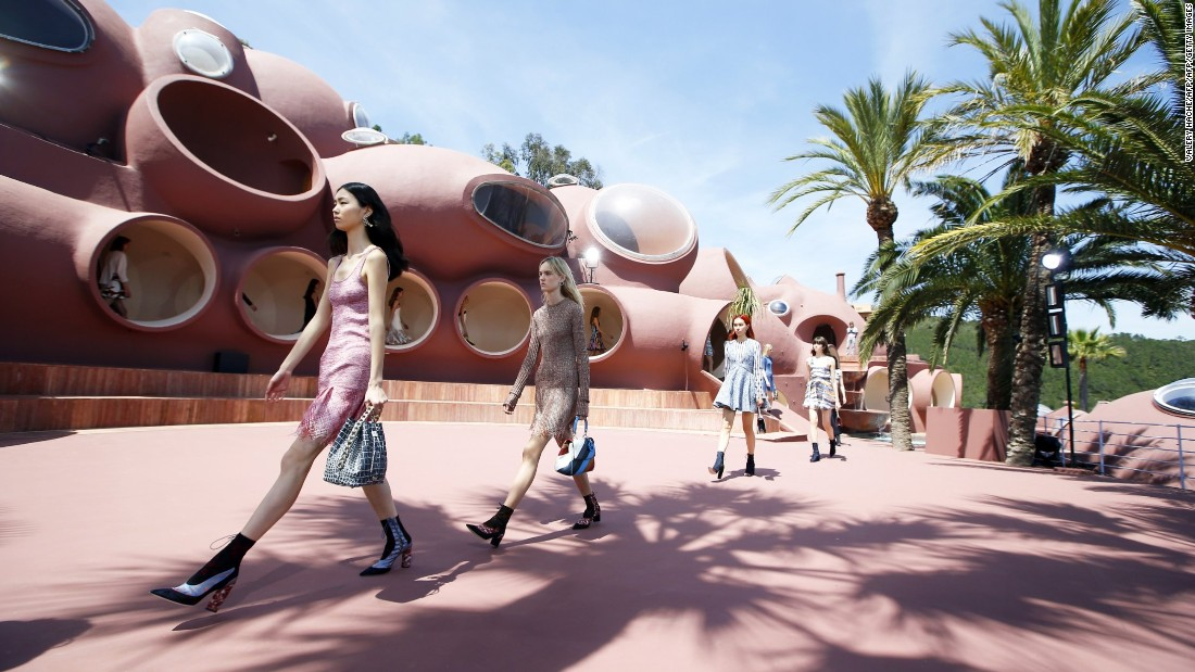 Pierre Cardin's Palais Bulles on the French Riviera provided a spectacular architectural setting for last year's Dior Cruise collection. 92-year-old fashion legend Cardin was in attendance.