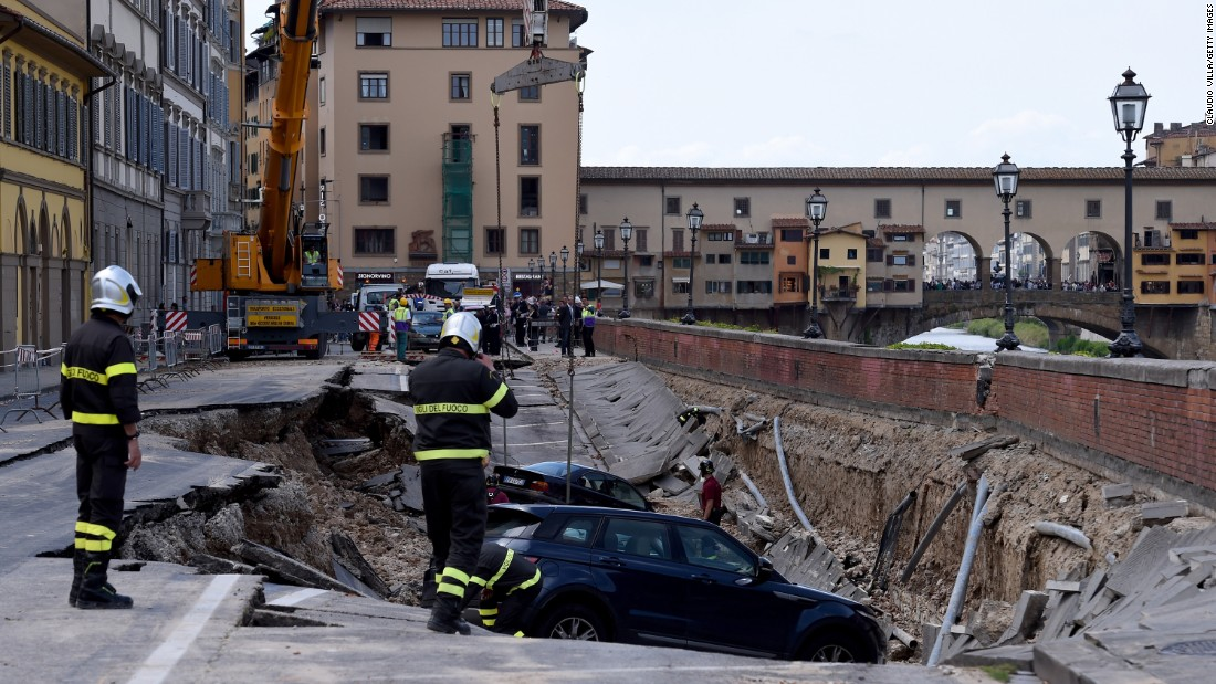 A road collapsed in Florence, Italy, on Wednesday, May 25.