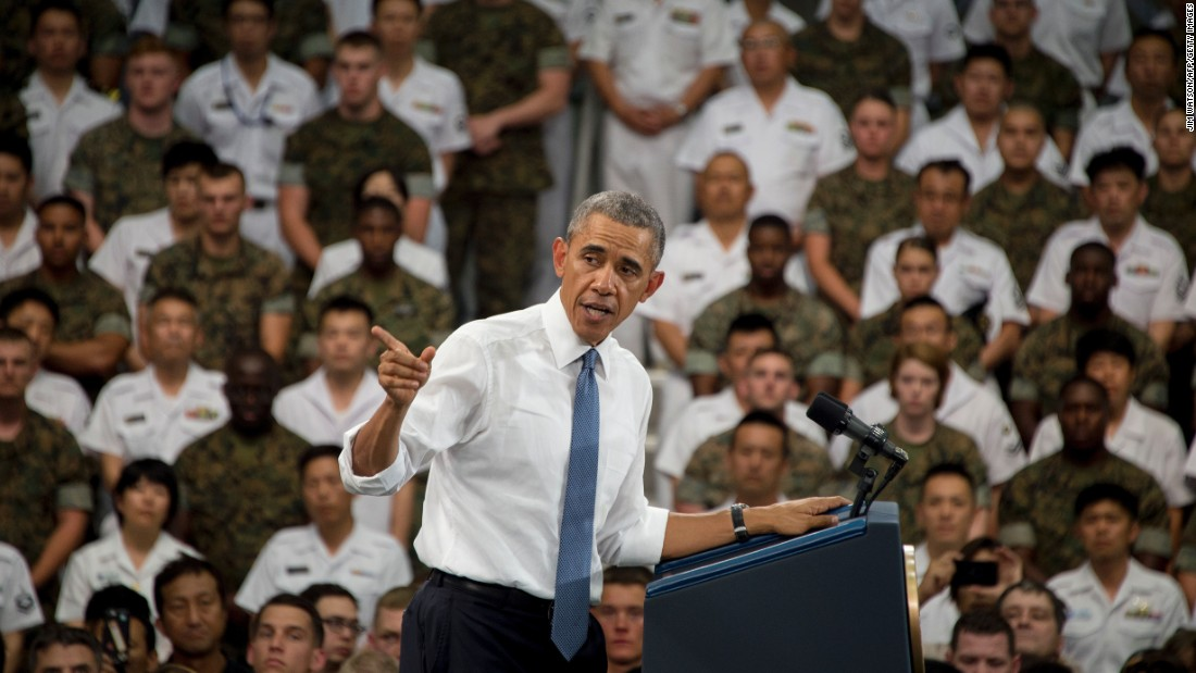 President Obama speaks to U.S. and Japanese troops during his visit to the Marine Corps Air Station.