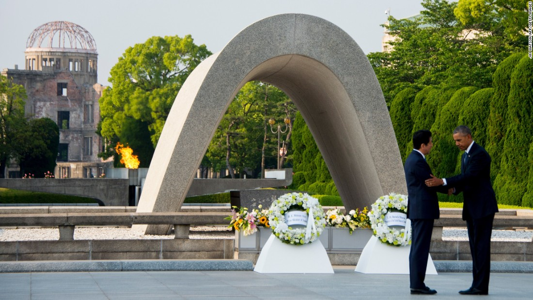"U.S. President Barack Obama, right, and Japanese Prime Minister Shinzo Abe shake hands after laying wreaths at the Hiroshima Peace Memorial Park in Hiroshima, Japan, on Friday, May 27. <a href=""http://www.cnn.com/2016/05/27/politics/obama-hiroshima-japan/"" target=""_blank"">Obama, the first sitting U.S. President to visit Hiroshima,</a> called for a ""world without nuclear weapons"" during his speech."