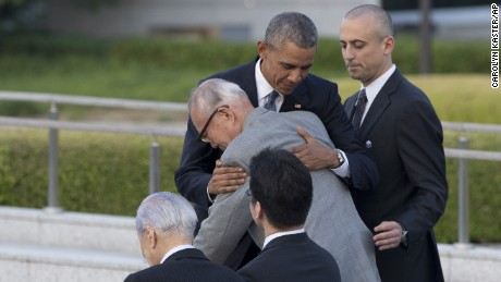 U.S. President Barack Obama hugs Shigeaki Mori, an atomic bomb survivor; creator of the memorial for American WWII POWs killed at Hiroshima, during a ceremony at Hiroshima Peace Memorial Park in Hiroshima, western Japan, Friday, May 27, 2016. Obama on Friday became the first sitting U.S. president to visit the site of the world's first atomic bomb attack, bringing global attention both to survivors and to his unfulfilled vision of a world without nuclear weapons. (AP Photo Carolyn Kaster)