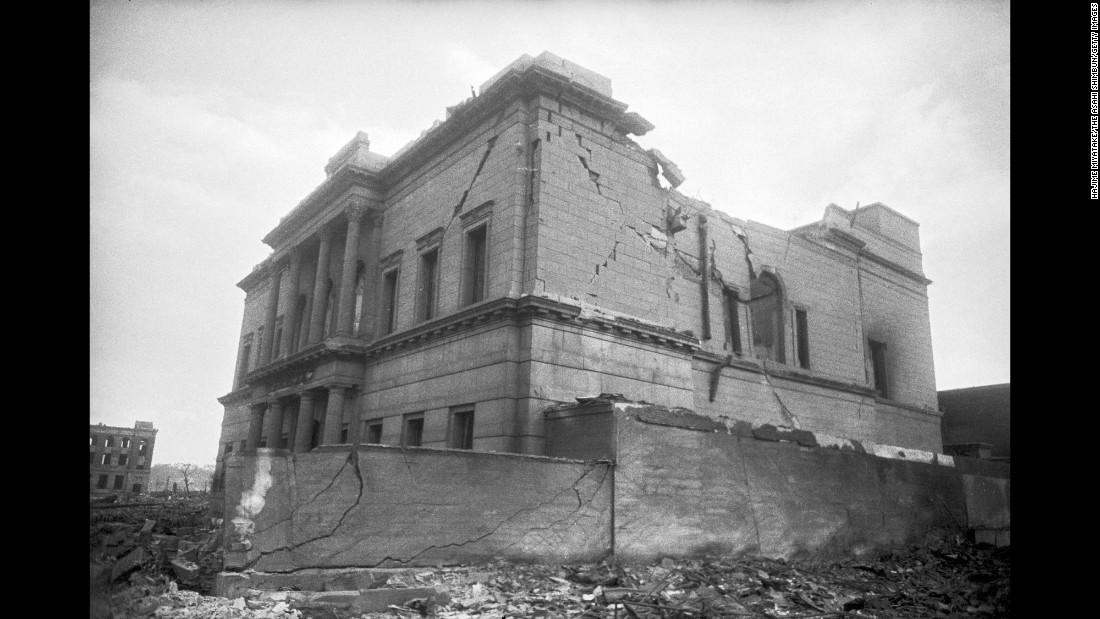 <strong>Then: </strong>The Hiroshima branch of the Teikoku Bank was destroyed.