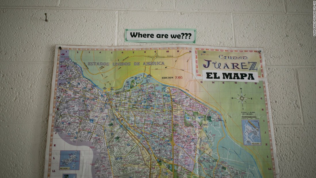 This map at Ysleta Lutheran Mission Human Care in El Paso aims to give visiting church groups a sense of the area's geography. Now it's helping Cubans who've just arrived learn where they are. In May, hundreds of them walked across the border daily after taking what officials described as humanitarian flights from Panama City, Panama, to Ciudad Juarez, Mexico.