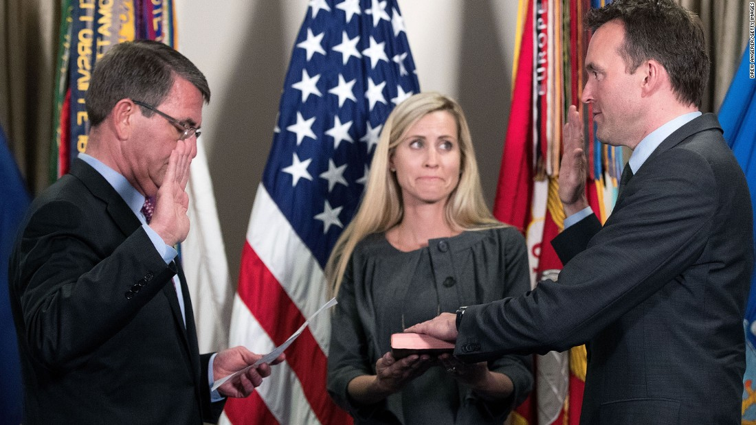 "U.S. Defense Secretary Ash Carter, left, swears in Secretary of the Army Eric Fanning during a ceremony at the Pentagon on Wednesday, May 18. Fanning is <a href=""http://www.cnn.com/2016/05/17/politics/eric-fanning-secretary-of-the-army/"" target=""_blank"">the first openly gay secretary of a U.S. military branch.</a>"
