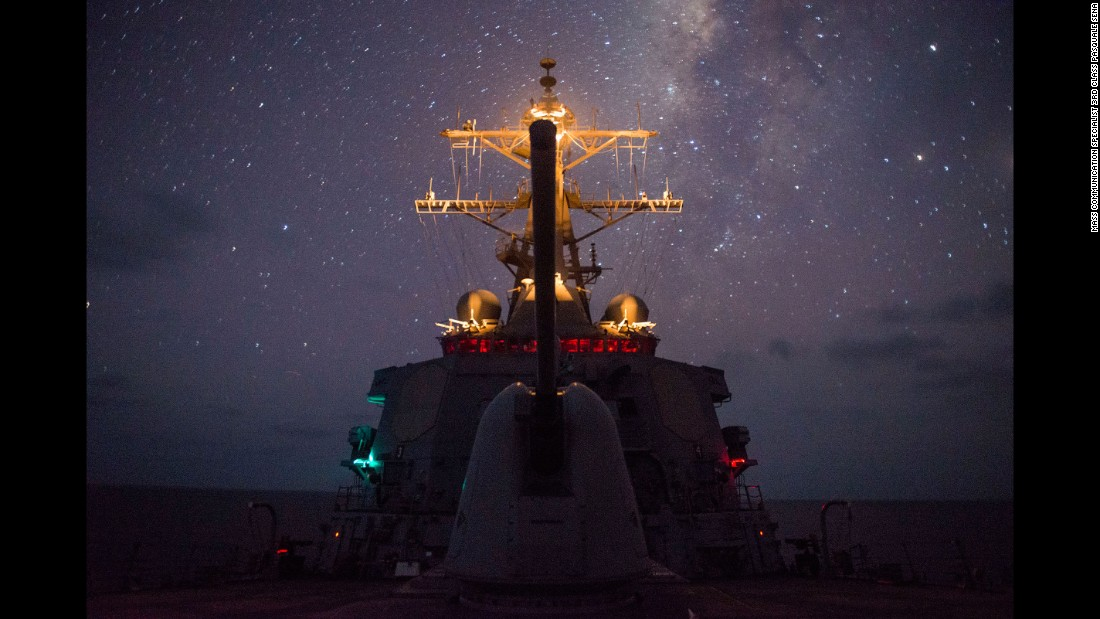 The USS Gonzalez, a guided-missile destroyer, travels in the Gulf of Aden on Saturday, May 14.