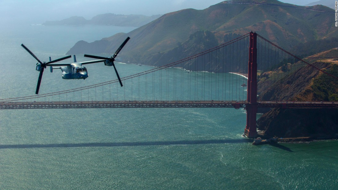 Marines fly a tiltrotor aircraft over the Golden Gate Bridge in San Francisco on Thursday, May 19.