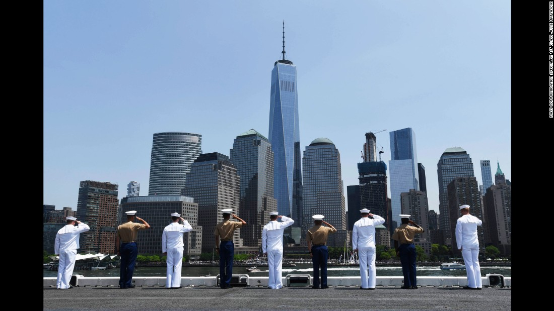 "Sailors and Marines aboard the USS Bataan salute as the ship pulls into New York for Fleet Week celebrations on Wednesday, May 25. <a href=""http://www.cnn.com/2016/05/04/us/gallery/us-military-april-photos/index.html"" target=""_blank"">See U.S. military photos from April</a>"