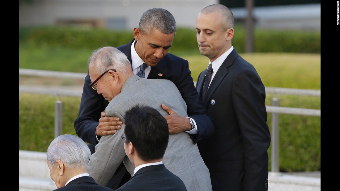"U.S. President Barack Obama hugs Shigeaki Mori, an atomic bomb survivor, during a ceremony Friday, May 27, at Hiroshima Peace Memorial Park in Hiroshima, Japan. Obama became <a href=""http://www.cnn.com/2016/05/27/politics/obama-hiroshima-japan/index.html"" target=""_blank"">the first sitting U.S. president to visit the site of the world's first atomic bomb attack.</a> Mori worked for four decades to gain official recognition of the 12 Americans killed in the bombing."