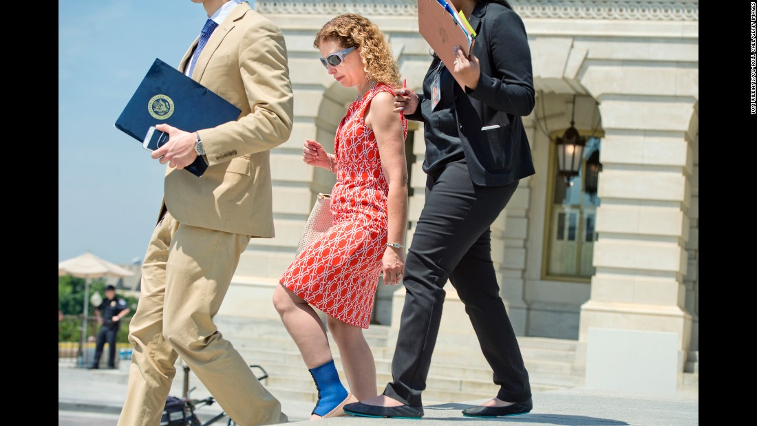 "U.S. Rep. Debbie Wasserman Schultz, chairwoman of the Democratic National Committee, walks down the Capitol steps on Thursday, May 26. Wasserman Schultz <a href=""http://www.cnn.com/2016/05/25/politics/debbie-wasserman-schultz-democrats-clinton-sanders/"" target=""_blank"">is on increasingly thin ice </a>as she risks losing key support to stay in her job as DNC chairwoman."