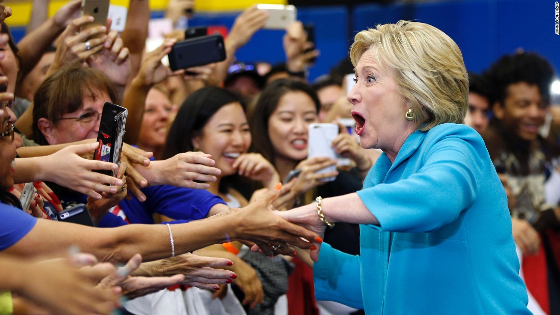 Democratic presidential candidate Hillary Clinton arrives at a rally in Riverside, California, on Tuesday, May 24.