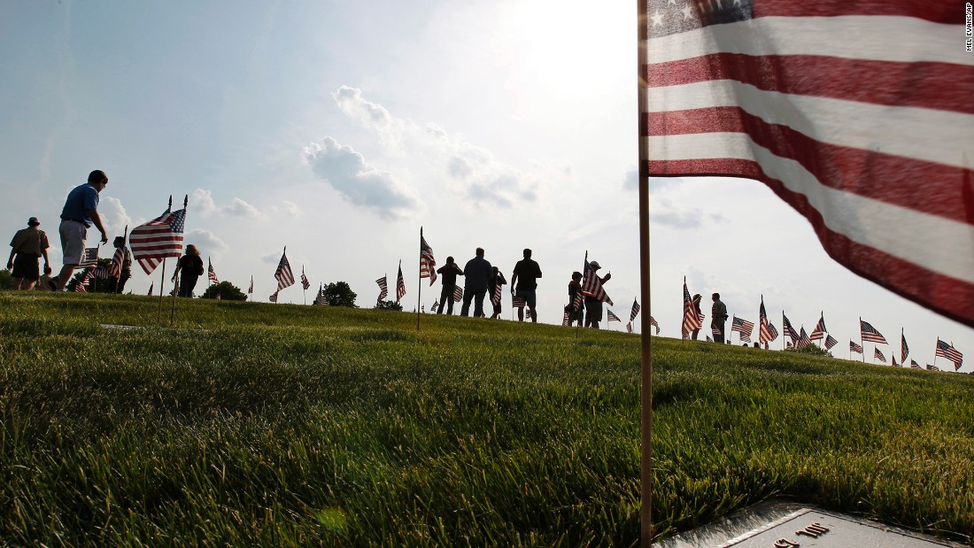 Thousands of flags were placed on veterans' graves at Brig. Gen. William C. Doyle Memorial Cemetery in Wrightstown, New Jersey, on Friday, May 27.