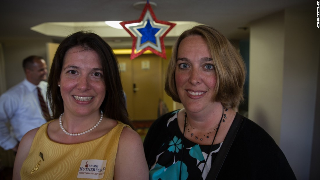 Cat Miller (left) and Alyssa Salgado are delegates for Indiana. Miller is campaign manager for Mark Rutherford, who is running for party chairman, and she recently decided to become a Libertarian. They said they received a spike in inquiries from people unhappy with Trump after Ted Cruz dropped out of the race.