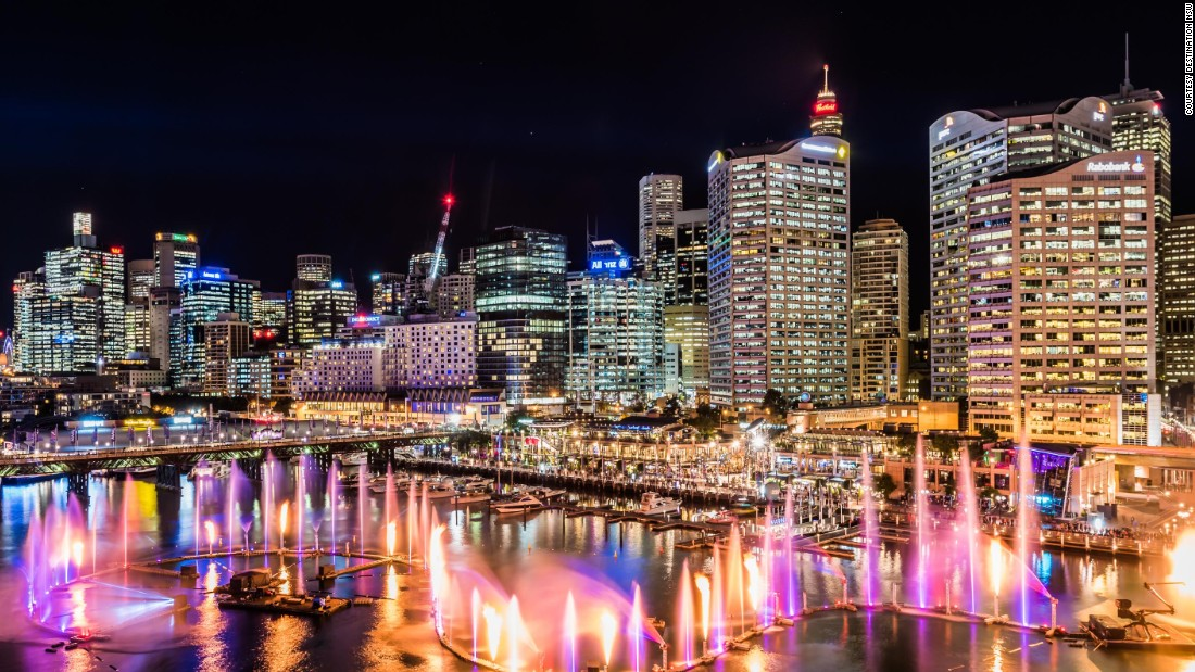 """This multimedia <a href=""""http://www.vividsydney.com/event/light/laser-dragon-water-theatre"""" target=""""_blank"""">spectacle</a> featuring flame jets, lasers and water screens will show every 30 minutes starting 6 p.m. until its last show at 11 p.m."""