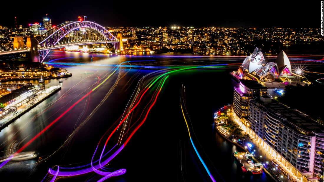Circular Quay lights up during opening night on May 27.