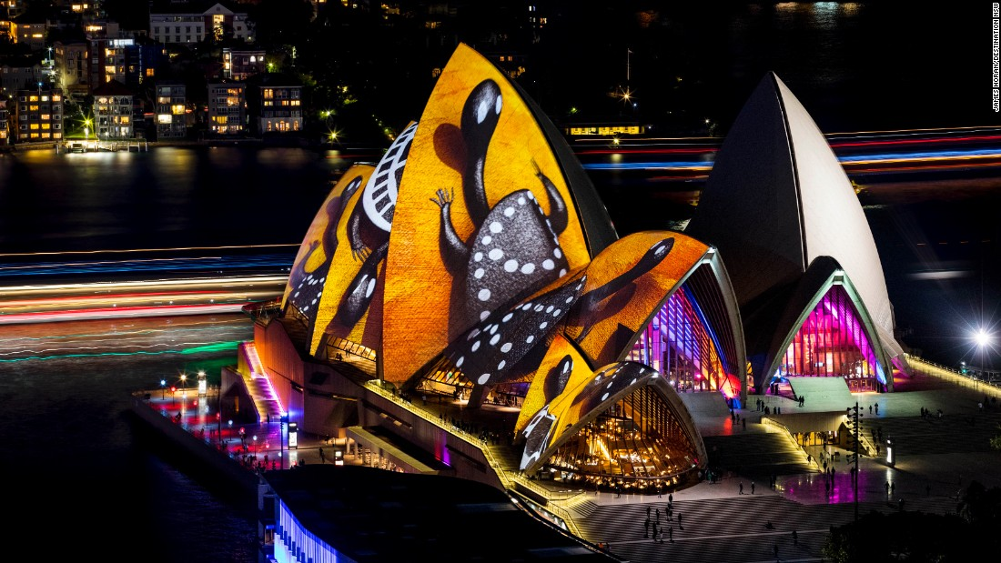 """Australia's most iconic building, the Sydney Opera House, turns into an animated, curved and multi-faceted canvas that features Australian indigenous art, such as the work of artist Donny Woolagoodja (pictured), during the """"Songlines"""" exhibition."""