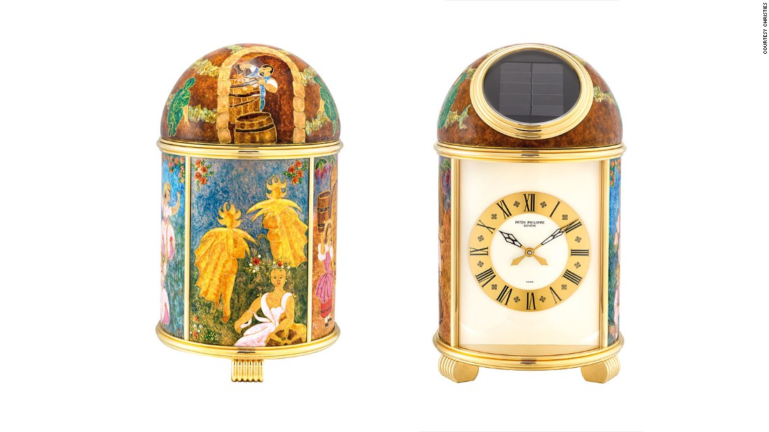 Patek Philippe solar-powered dome table clock, 1977 (Sold: $160,435)