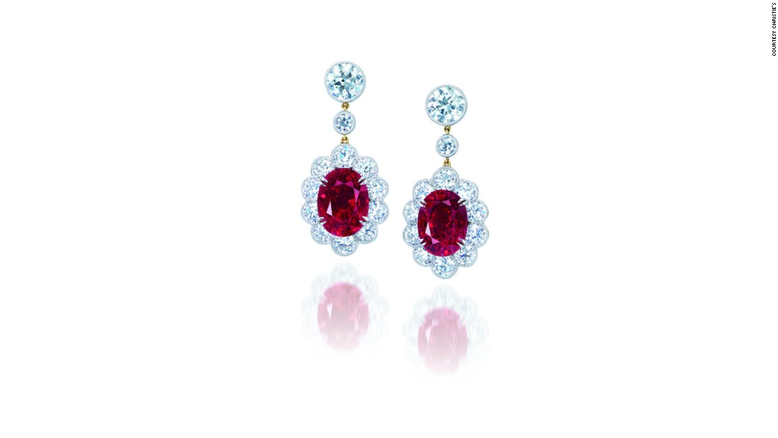 Oval-shaped ruby and diamond ear pendants (Sold: $11,608,216)