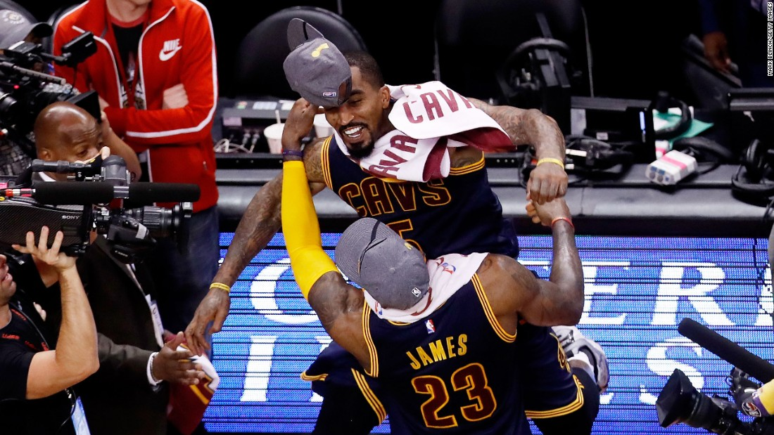 "LeBron James and J.R. Smith celebrate Friday, May 27, after Cleveland finished off Toronto in the NBA's Eastern Conference Finals. They'll be in <a href=""http://www.cnn.com/2016/04/13/sport/nba-finals-superlatives/"" target=""_blank"">the NBA Finals</a> for the second consecutive season."