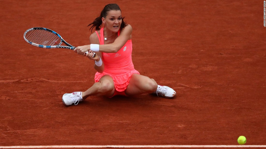 Agnieszka Radwanska hits a backhand during her fourth-round match at the French Open on Sunday, May 29.