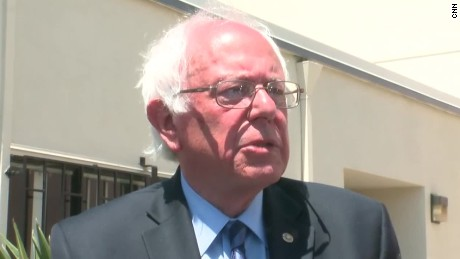 Sen. Bernie Sanders speaks to reporters in Oakland, California. May 30, 2016.