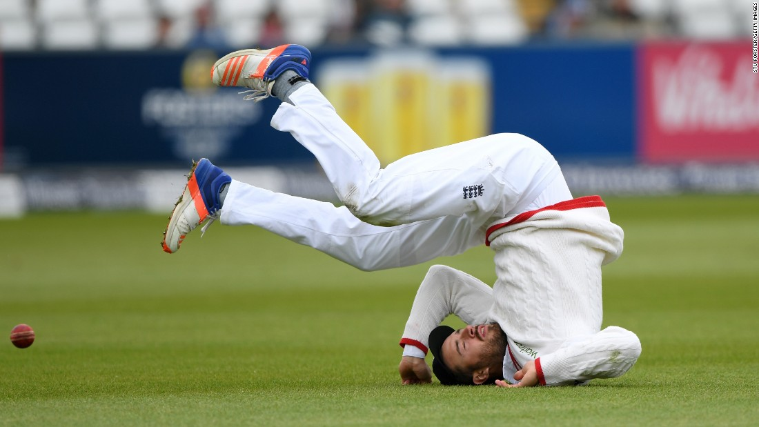England cricketer James Vince drops a catch Monday, May 30, during a Test match against Sri Lanka in Chester-le-Street, England.