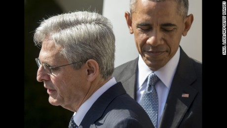 US President Barack Obama joins his Supreme Court nominee, federal appeals court judge Merrick Garland (L), during the nomination announcement the Rose Garden of the White House in Washington, DC, March 16, 2016.