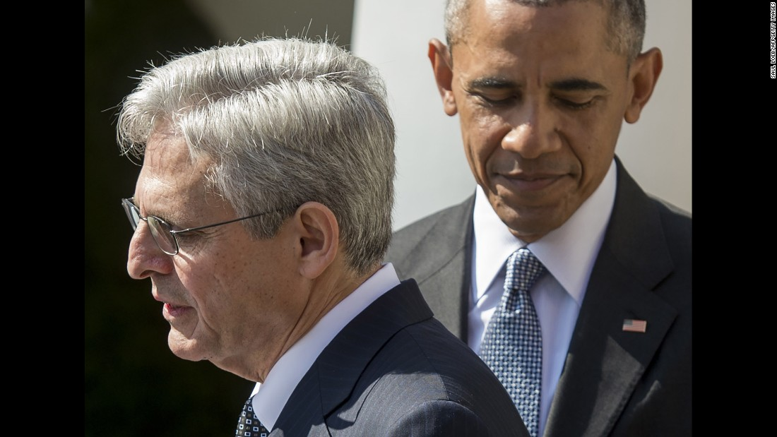 "<strong>Scalia's replacement: </strong>Obama joins his Supreme Court nominee, Merrick Garland, in the Rose Garden of the White House in March. But Republicans <a href=""http://www.cnn.com/2016/05/10/politics/merrick-garland-supreme-court-senate-republicans/"" target=""_blank"">have vowed to block</a> any replacement for Antonin Scalia until a new President takes office."