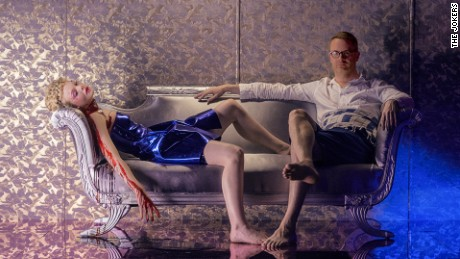 Refn with his lead Elle Fanning, who was 16 years old when production began.