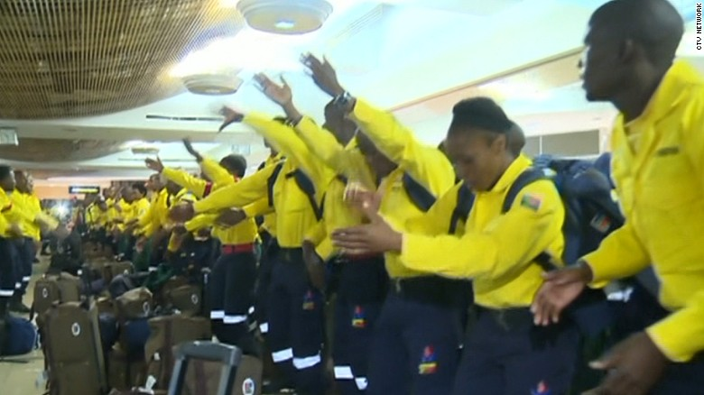 South African firefighters dance for Canadian community