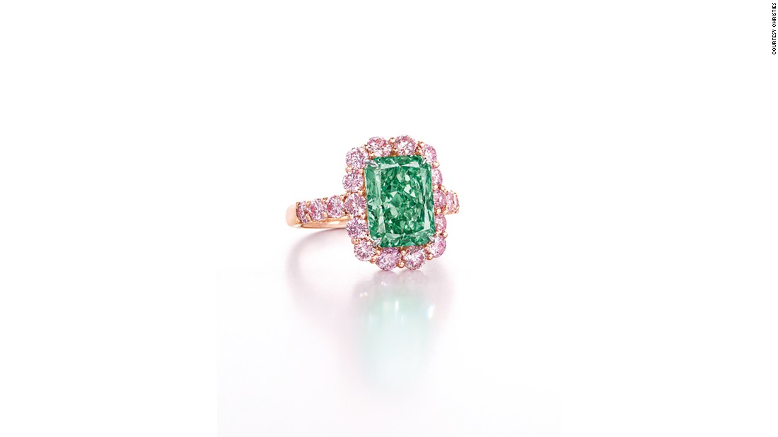 The Aurora Green is the largest Fancy Vivid green diamond ever sold at auction. The stone went under the hammer on May 31, 2016 at Christie's auction house in Hong Kong, selling for $16.8 million.